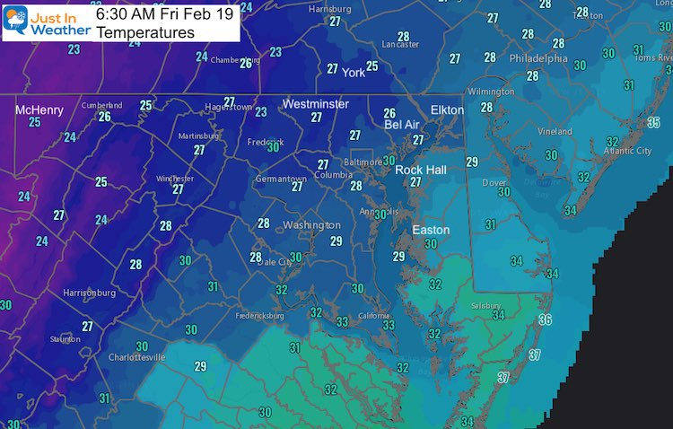 February 19 weather temperatures morning
