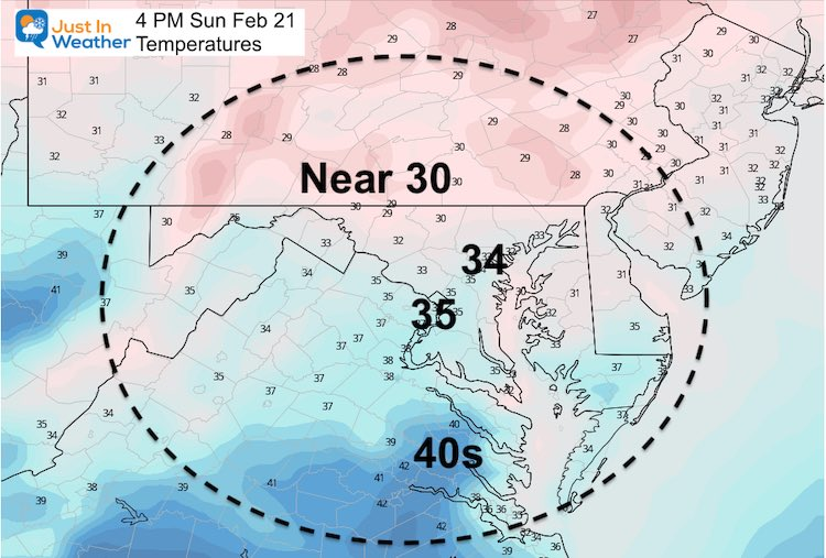 February 20 weather temperature Sunday afternoon