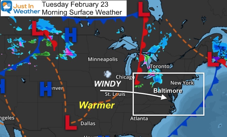 February 23 weather Tuesday morning