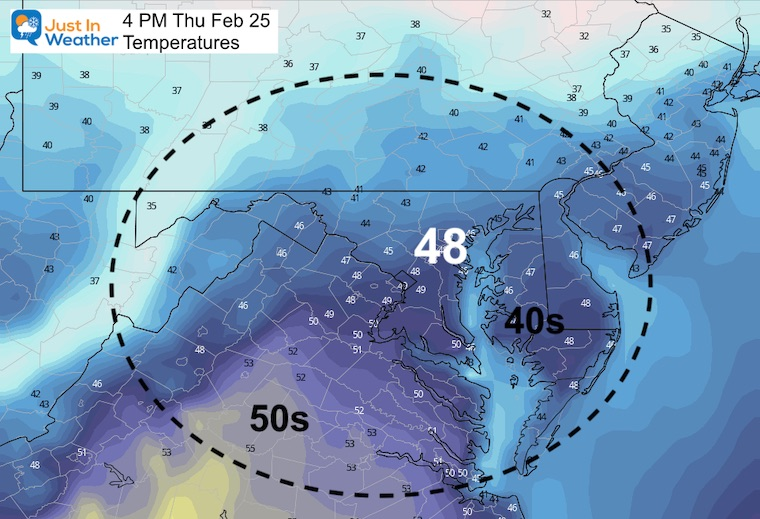 February 24 weather Thursday Afternoon temperatures