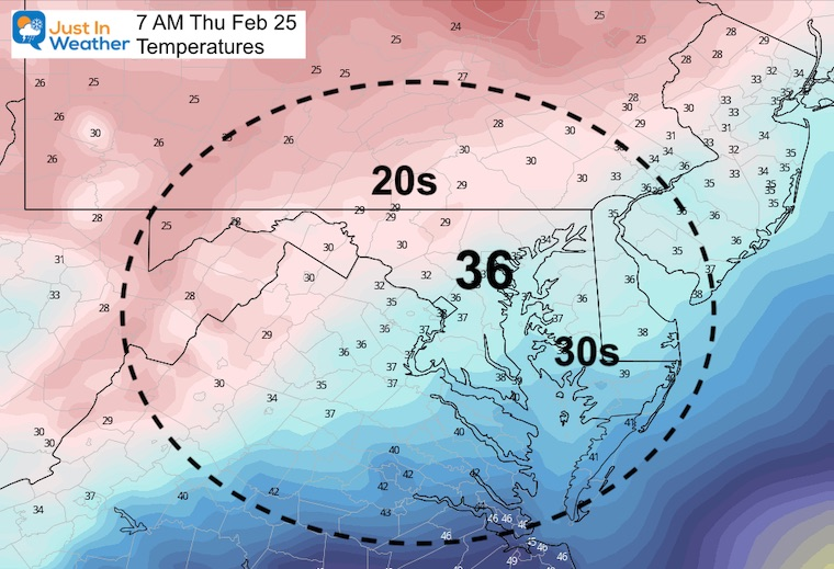 February 24 weather Thursday morning temperatures