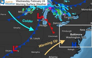 February 24 weather Wednesday morning