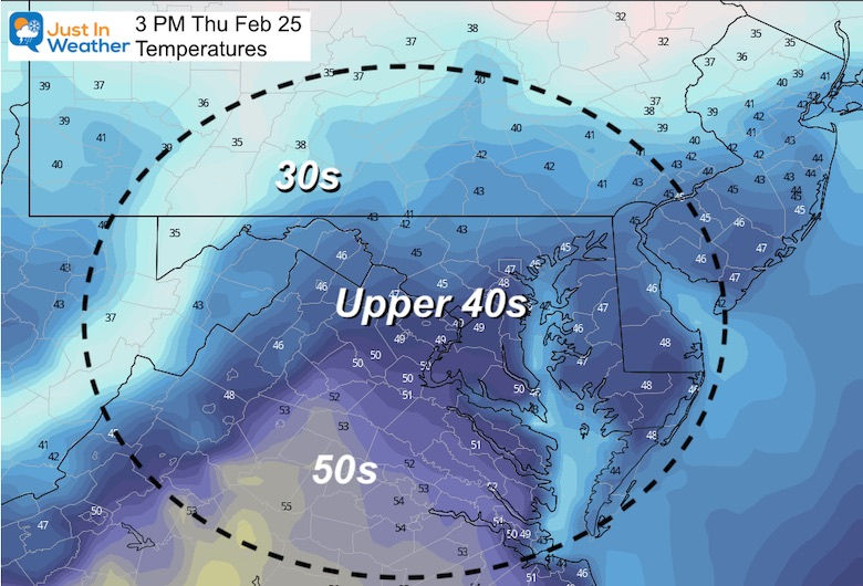 February 24 weather temperature Thursday afternoon