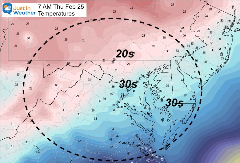 February 24 weather temperature Thursday morning