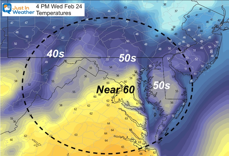 February 24 weather temperature Wednesday afternoon