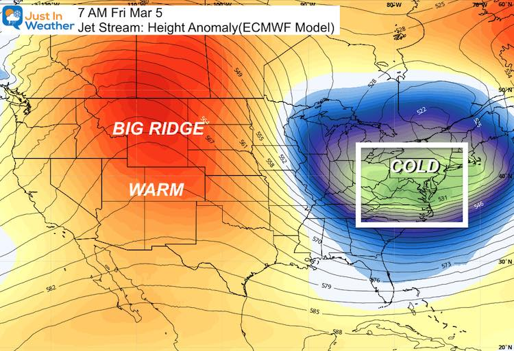 February 25 weather jet stream Cold March