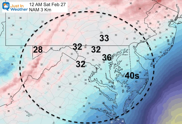 February 25 weather temperatures Friday night