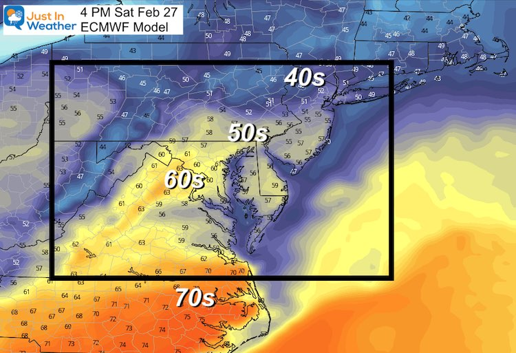 February 25 weather temperatures Saturday afternoon