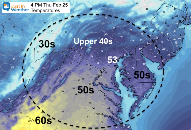 February 25 weather temperatures Thursday aftenoon