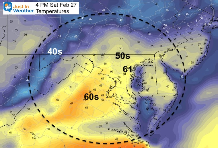 February 26 weather temperatures Saturday Afternoon