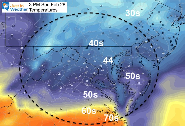 February 27 weather temperatures Sunday 3 PM