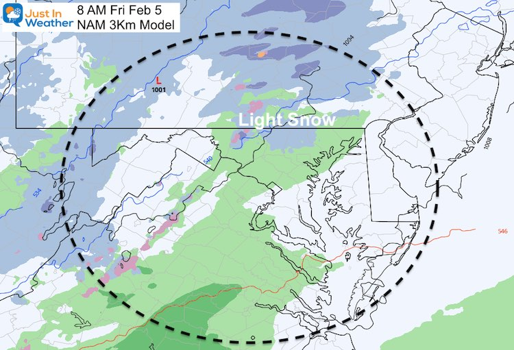 February 3 weather PM Friday Snow NAM