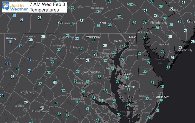 February 3 weather temperature Wednesday morning