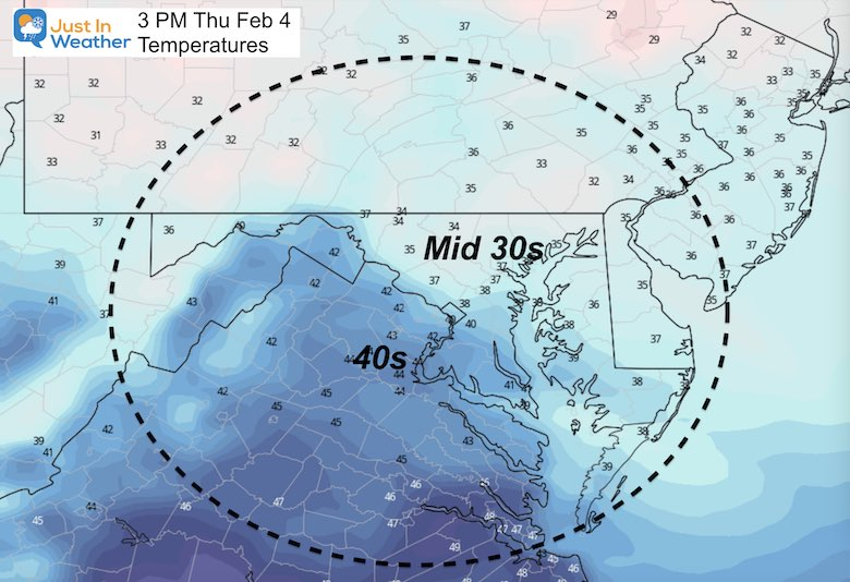 February 3 weather temperatures Thursday afternoon