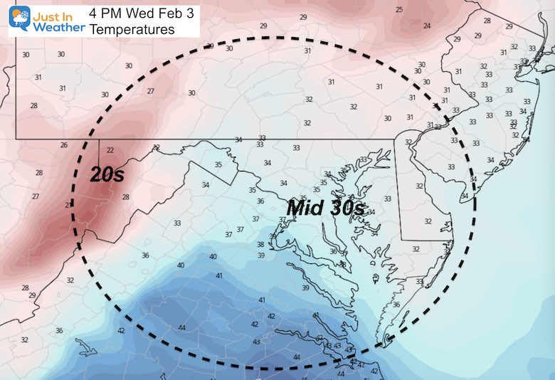 February 3 weather temperatures afternooon