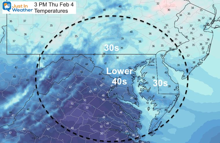 February 4 weather temperatures Thursday afternoon