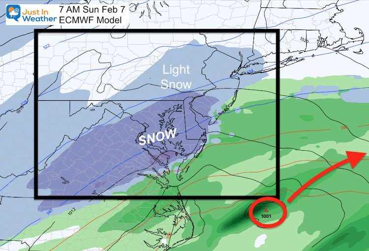 February 5 weather snow Sunday ECMWF AM 7