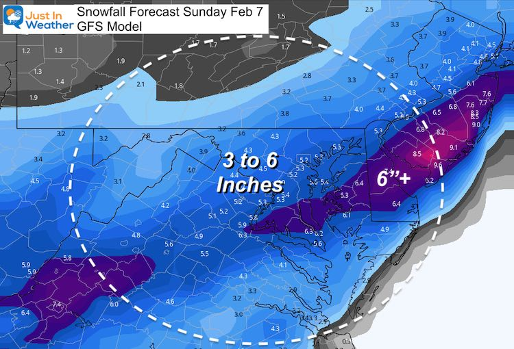 February 5 weather snow Total Sunday GFS