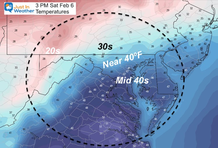 February 5 weather temperatures Saturday afternoon