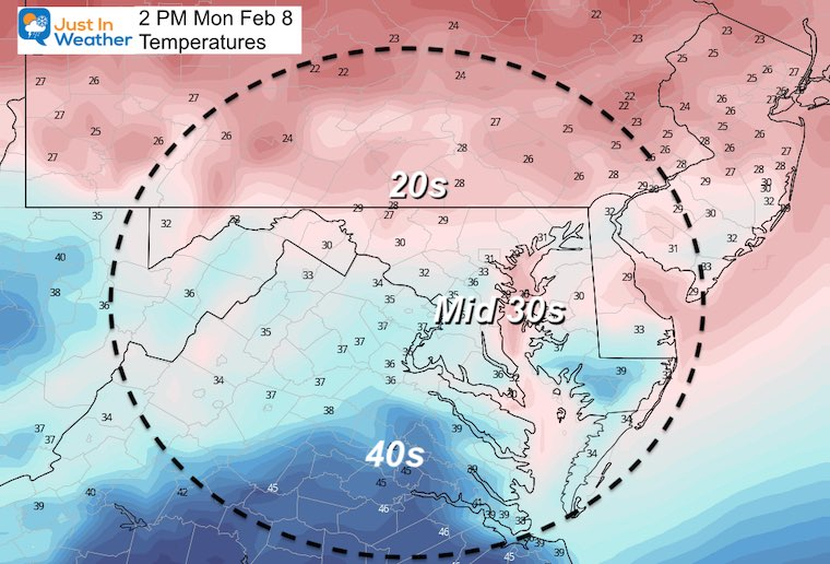 February 8 weather Monday Temperatures afternoon