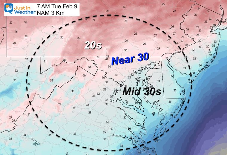 February 8 weather Tuesday temperatures morning MD