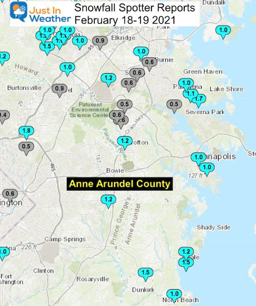 Snow Spotter Reports February 19 Maryland Anne Arundel