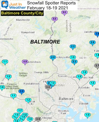 Snow Spotter Reports February 19 Maryland Baltimore