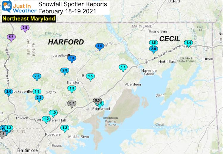 Snow Spotter Reports February 19 Maryland Northeast