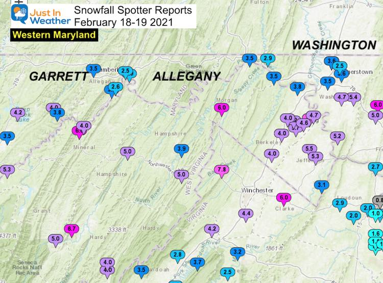 Snow Spotter Reports February 19 Maryland Western