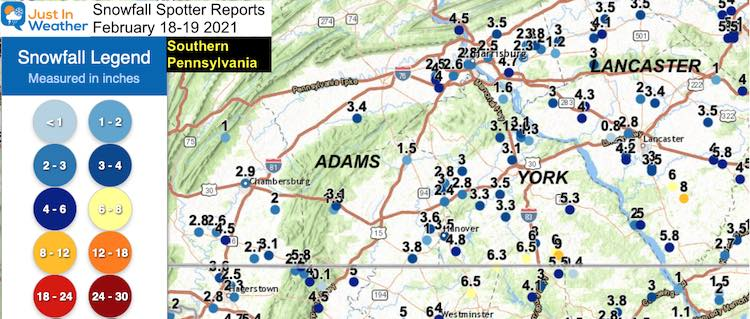 Snow Spotter Reports February 19 Pennsylvania Southern