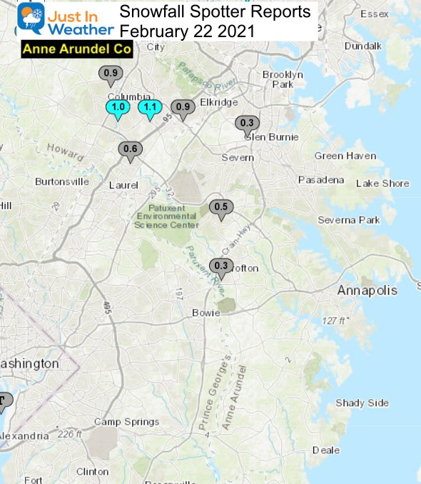 Snow Spotter Reports February 22 Maryland Anne Arundel