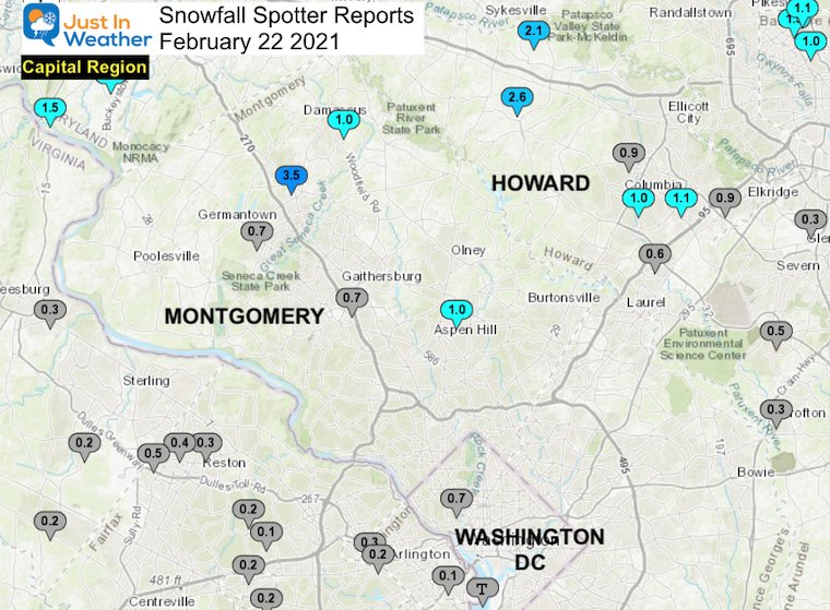 Snow Spotter Reports February 22 Maryland Capital Region
