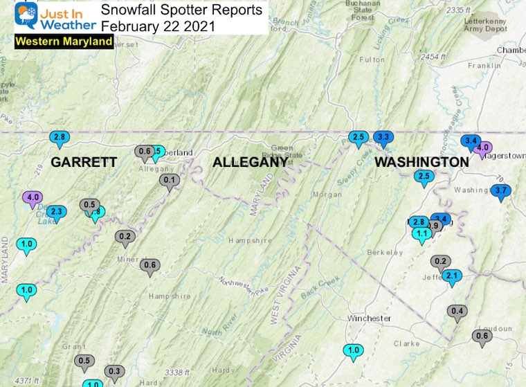 Snow Spotter Reports February 22 Maryland Western