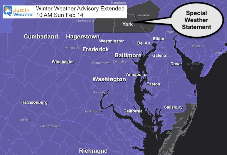 Winter Weather Advisory Extended February 14