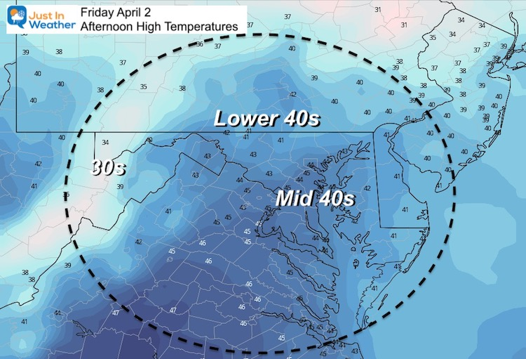 April 1 weather Friday afternoon temperatures