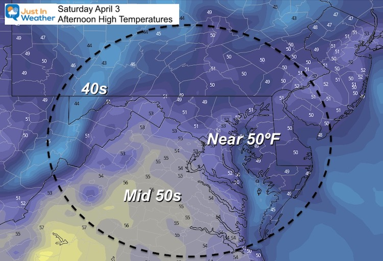 April 1 weather Saturday afternoon temperatures