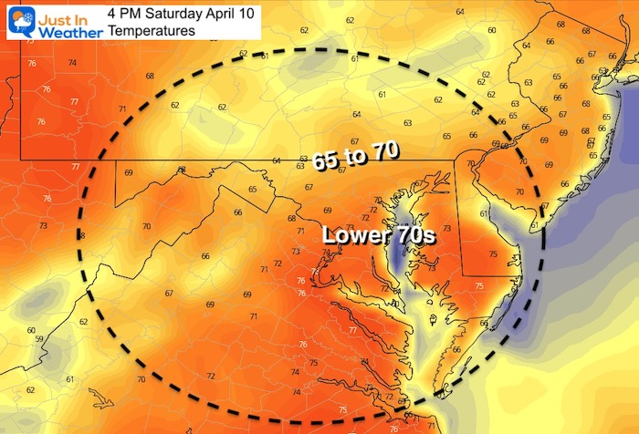 April 10 weather temperatures Saturday afternoon