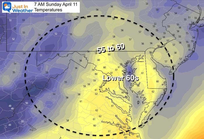 April 10 weather temperatures Sunday morning