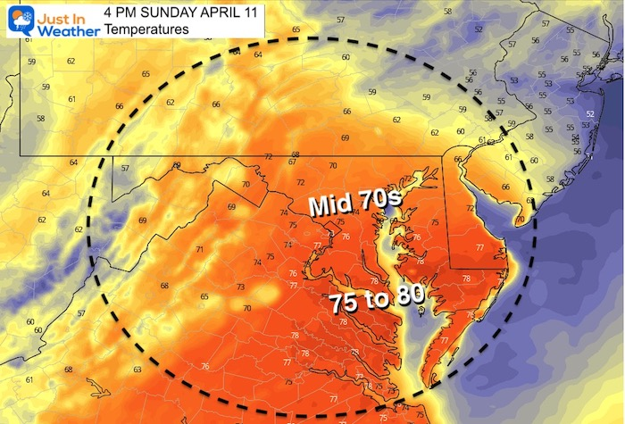April 11 weather Sunday afternoon temperatures