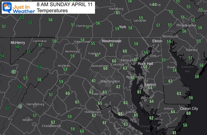 April 11 weather Sunday morning temperatures