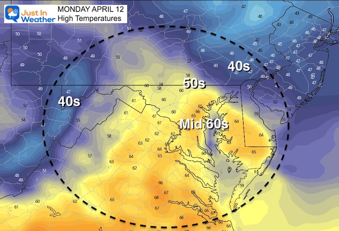 April 11 weather temperatures Monday afternoon
