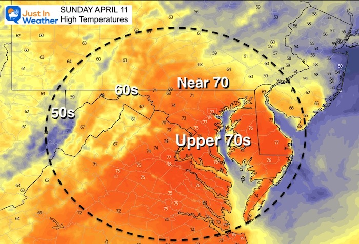 April 11 weather temperatures Sunday afternoon