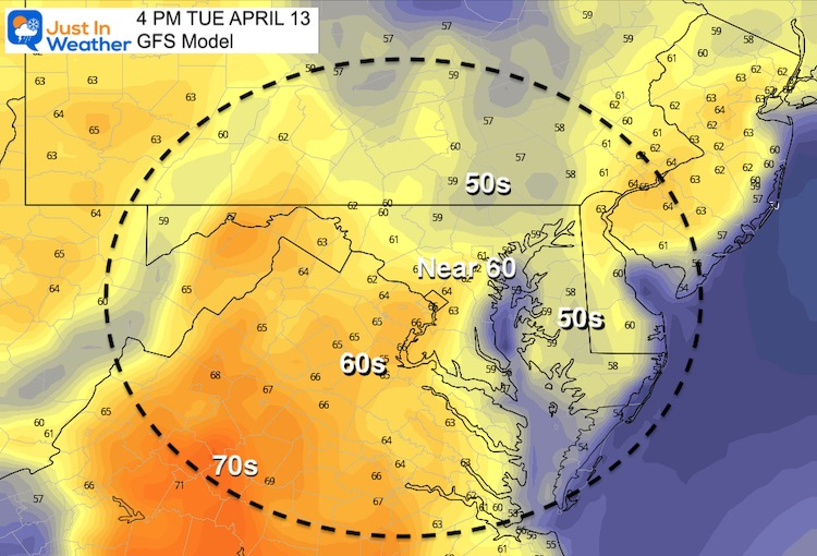 April 13 weather temperatures Tuesday afternoon