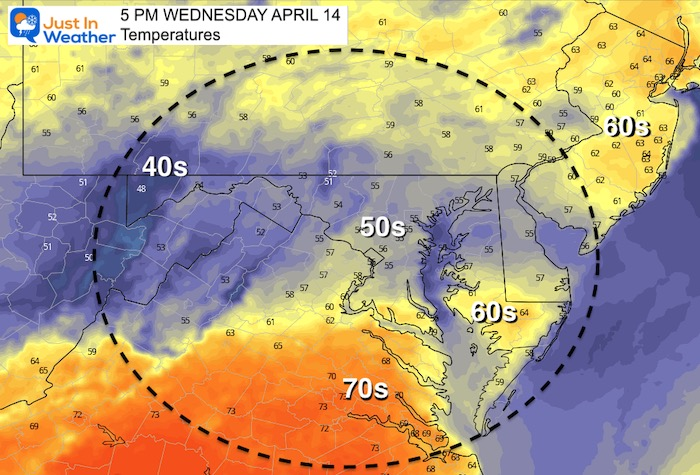 April 14 weather temperatures Wednesday 5 PM