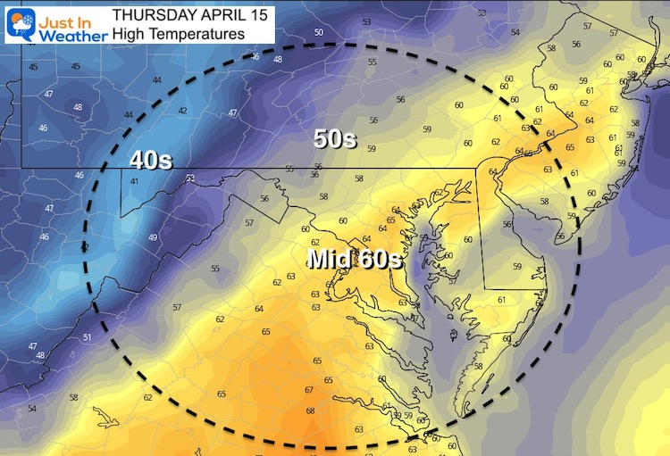 April 15 weather temperature Thursday afternoon