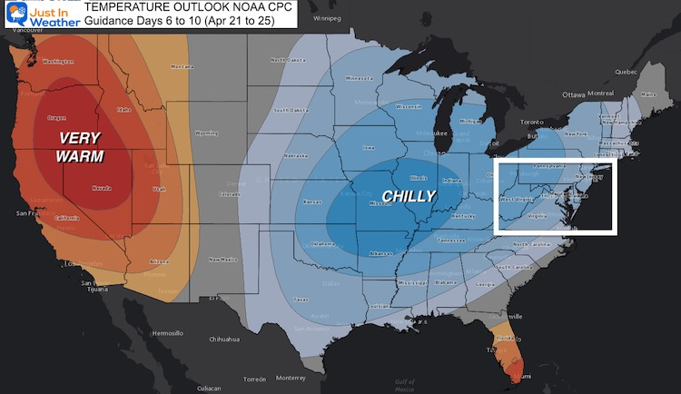 April 16 weather NOAA temperature outlook Day 6
