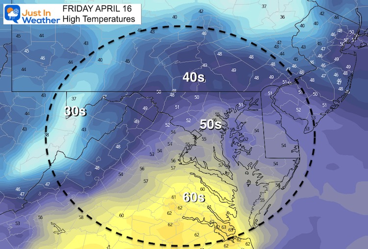 April 16 weather temperature Friday afternoon