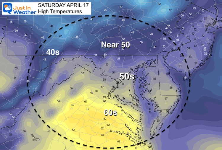 April 16 weather temperature Saturday afternoon