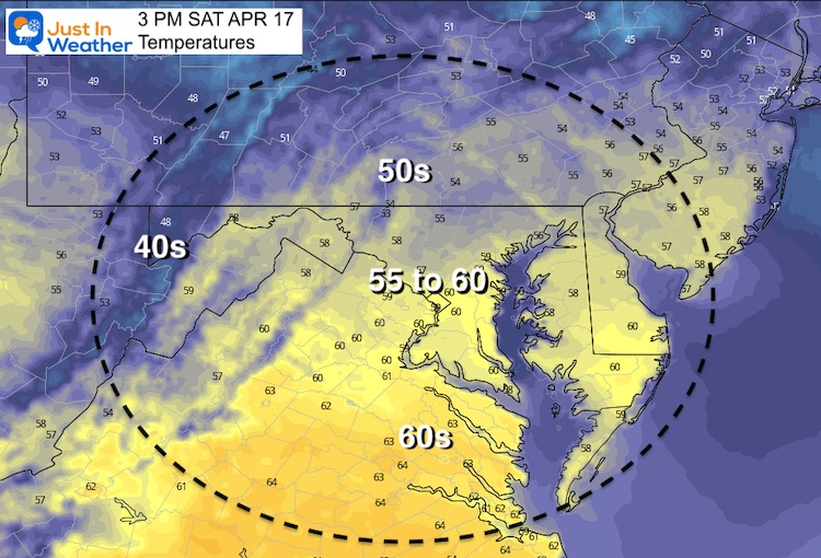 April 17 weather temperatures Saturday afternoon