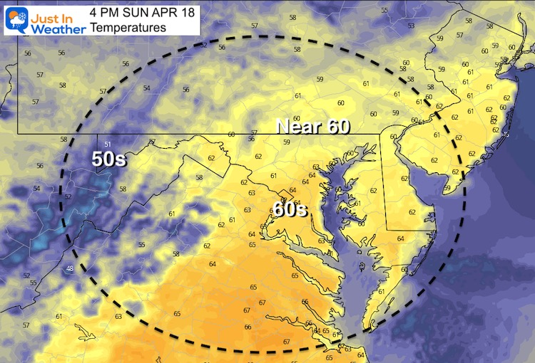 April 17 weather temperatures Sunday afternoon